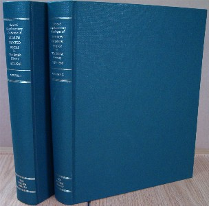 Second Supplementary Catalogue of Hebrew Printed Books in the British Library 1893-1960. [Two volumes]. Diana Rowland based on the work of David Goldstein SMITH, et. al, Cyril Moss.