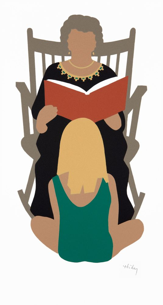 Grandmother Reading. [Silkscreen print]. Lance HIDY.