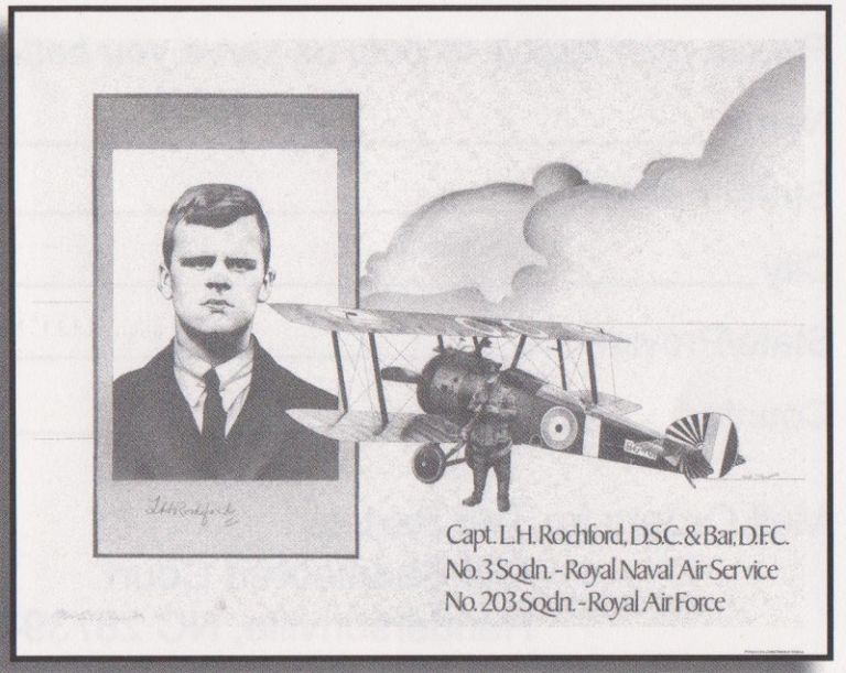 Framed print reproduced from the pen and ink drawing of Leonard H. Rochford, Capt. No. 3 Squadron, Royal Naval Air Service, No. 203 Squadron, Royal Air Force.