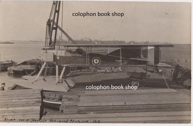 Original contact print photograph of a Short Seaplane. 1917.