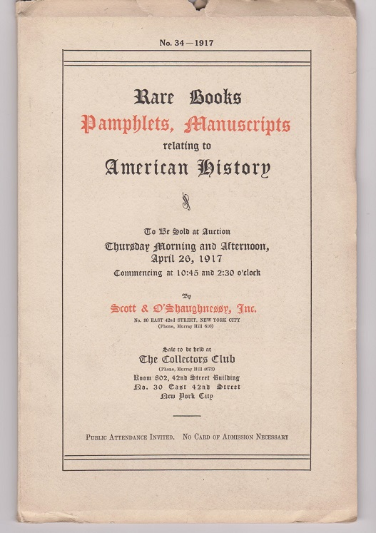 Catalogue of a Collection of Books, Pamphlets, Broadsides, Manuscripts, Letters in part from the Library of Joel R. Poinsett, Secretary of War (1837-1841)...