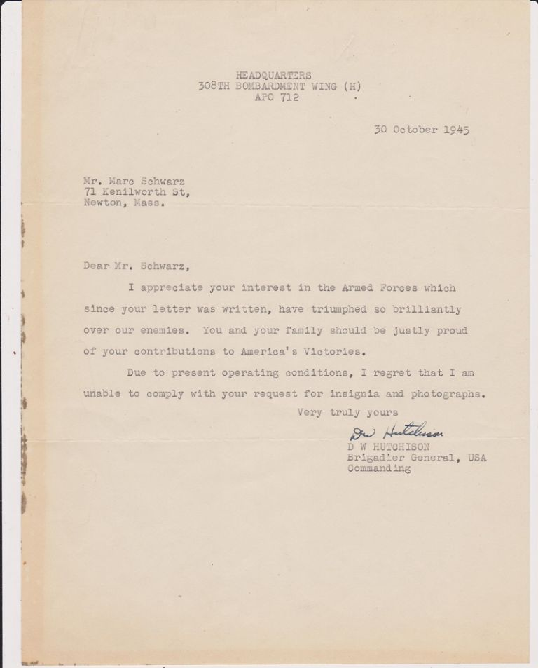 Typed Letter, signed, dated 30 October 1945.