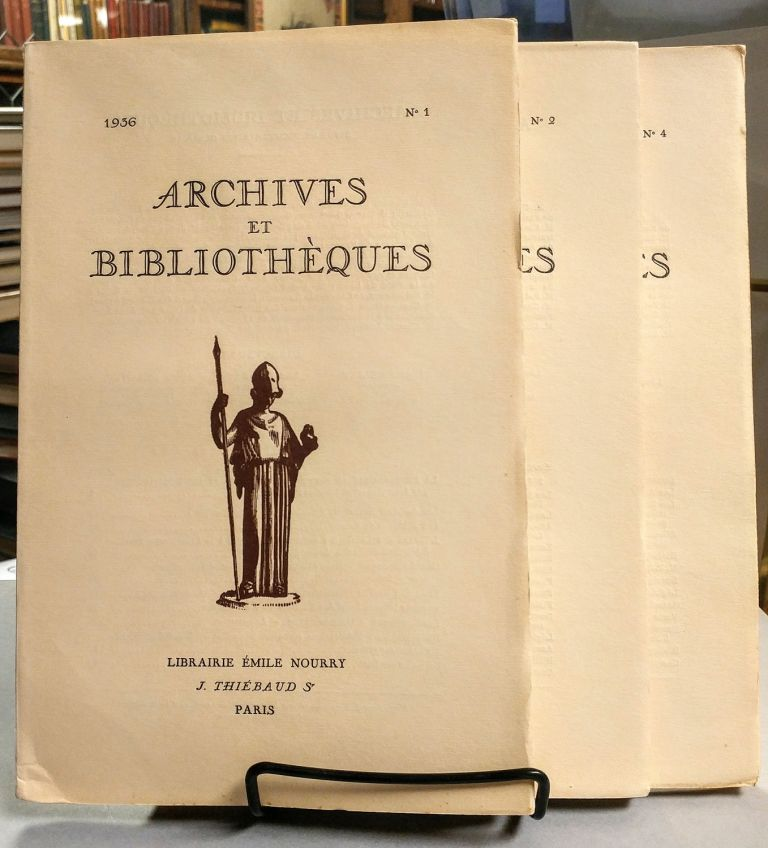 Archives et Bibliotheques. No. 1, No. 2 and No. 4. 1936.
