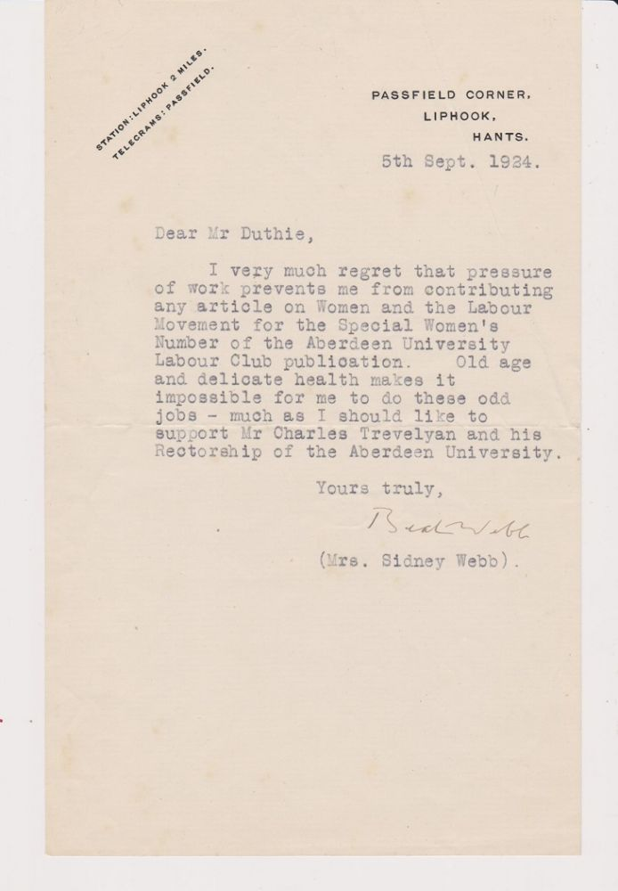 Typed Letter, signed, on her Passfield Corner, Liphook stationery and dated 5th Sept 1924. Beatrice WEBB.