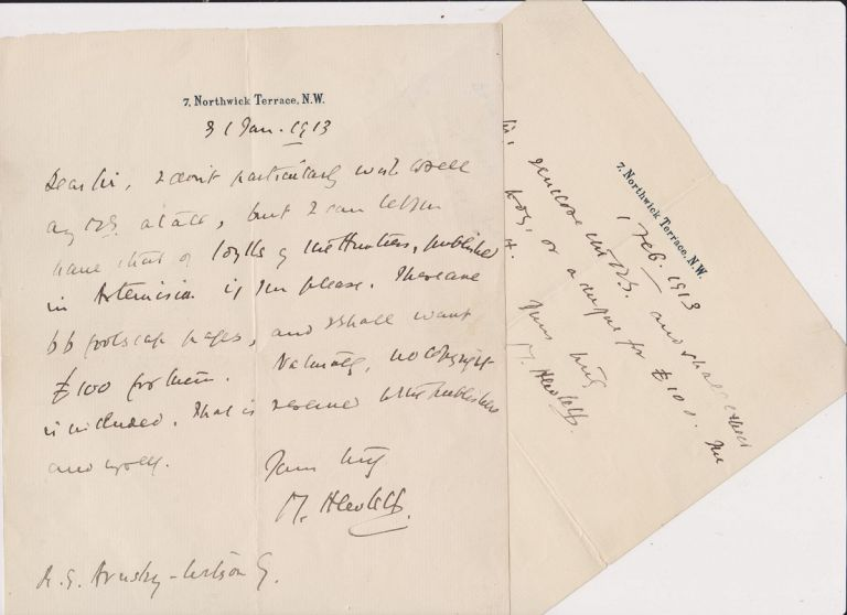 Two Autograph Letters, signed, dated 31 Jan and 1 Feb 1913. Maurice HEWLETT.