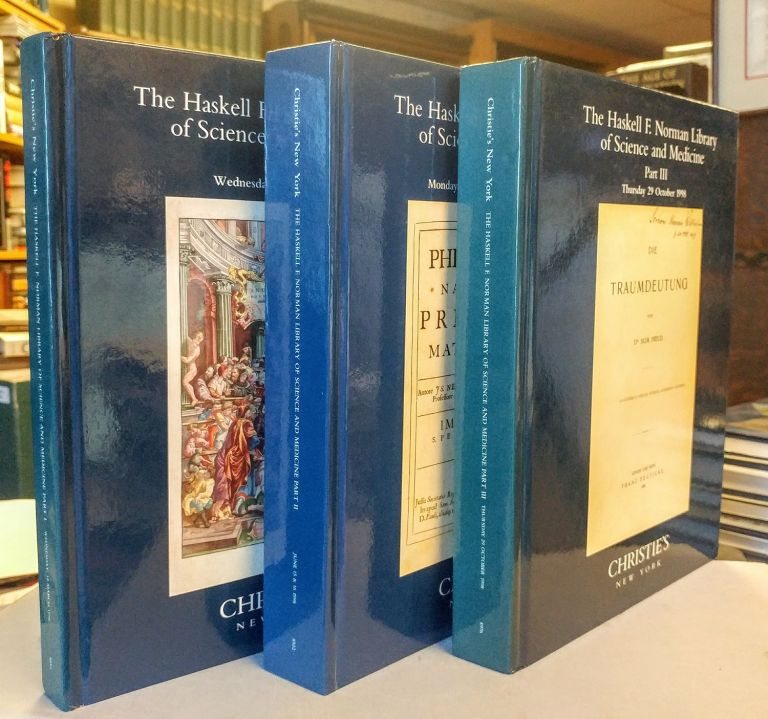 The Haskell F. Norman Library of Science and Medicine. Part I: The Middle Ages and The Renaissance (18 March 1998); Part II: The Age of Reason (15 and 16 June 1998); Part III: The Modern Age (29 October 1998). Three volumes.