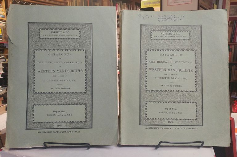 Catalogue of the Renowned Collection of Western Manuscripts the Property of A. Chester Beatty, Esq. Two parts, complete.
