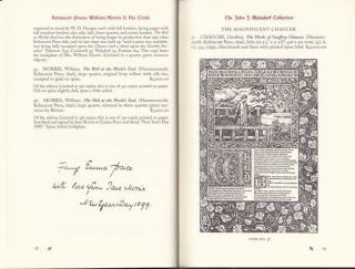 Kelmscott Press, William Morris & His Circle. The John J. Walsdorf Collection with a few additions.