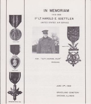 In Memoriam 1918-1968 1st Lt. Harold E. Goettler, United States Air Service. (Cover title