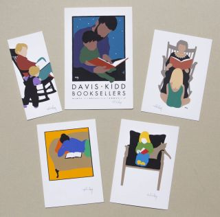 One lot of five small-format Lance Hidy graphics. All images reflecting the artist's interest in the book and reading: Anna Reading, Carolyn Reading, Grandmother Reading, Rocking Chair, Davis-Kidd Booksellers [#1]. Lance HIDY.