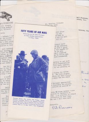 Small lot of material relating to the Air Mail Pioneers with typed letter, signed by Pete (E. J.)...