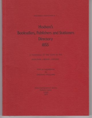 Hodson's Booksellers, Publishers and stationers Directory 1855. W. H. HODSON