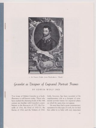 Gravelot as Designer of Engraved Portrait Frames. Edwin WOLF, 2nd
