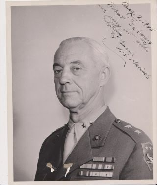 Typed letter, signed, with photographic portrait, inscribed. Maj. Gen. Earl C. LONG