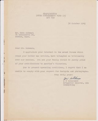 Typed Letter, signed, dated 30 October 1945. Brig Gen David William HUTCHISON.