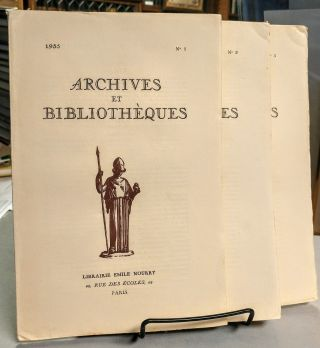 Archives et Bibliotheques. No. 1, No. 2 and No. 3. 1935.