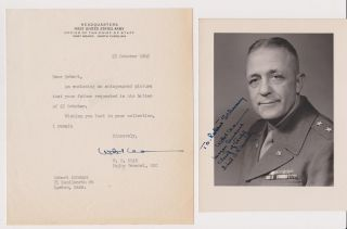 Typed note, signed, with studio portrait inscribed and signed. Maj Gen William Benjamin KEAN.