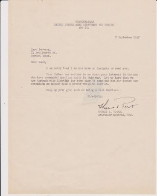 Typed Letter, signed, dated 5 September 1945. Gen Thomas S. POWER