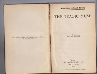 The Tragic Muse. Macmillan's Colonial Library. Henry JAMES