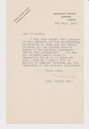 Typed Letter, signed, on her Passfield Corner, Liphook stationery and dated 5th Sept 1924....