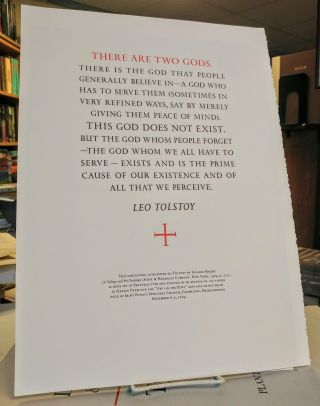 """There Are Two Gods."" (Broadside). Leo TOLSTOY"