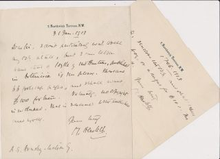 Two Autograph Letters, signed, dated 31 Jan and 1 Feb 1913. Maurice HEWLETT