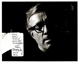 Black and white photographic headshot of Bradbury with a white label applied at lower left-hand...