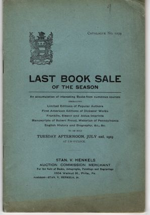 Last Book Sale of the Season. Catalogue No. 1239